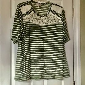 New 3X Stripped Olive Tee Tunic Top Lace accents